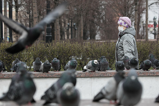 Всеобщая самоизоляция в Москве, день третий: пустая Красная площадь, полиция и голуби
