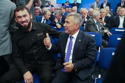Медведев и Минниханов на конференции «ЕдРа» в Москве