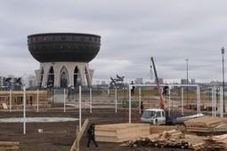 Возле казанской «Чаши» идет строительство ледового городка
