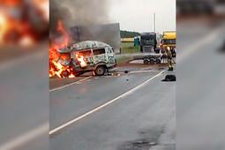 В Татарстане на трассе М7 столкнулись и загорелись «УАЗ» и Ford