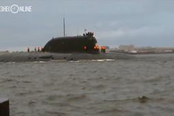 Первый выход новейшей подводной лодки «Казань» в море попал на видео