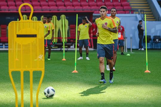 Накануне матча Польша - Колумбия: Левандовски и Хамес тренируются на «Казань Арене»