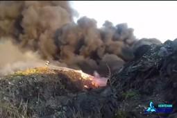 В Нижнекамске загорелась свалка промышленных отходов