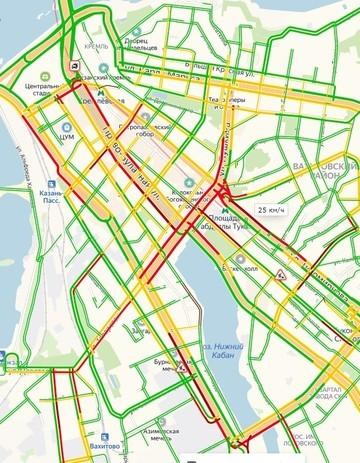 Пробки в Казани достигли 9 баллов