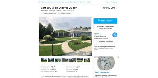 В Нижнекамском районе выставили на продажу особняк за 40 млн рублей