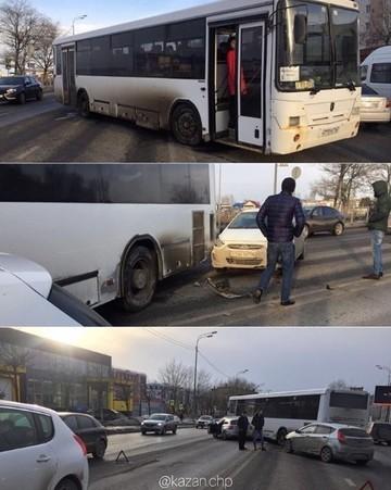 В Казани произошло ДТП с участием междугороднего автобуса