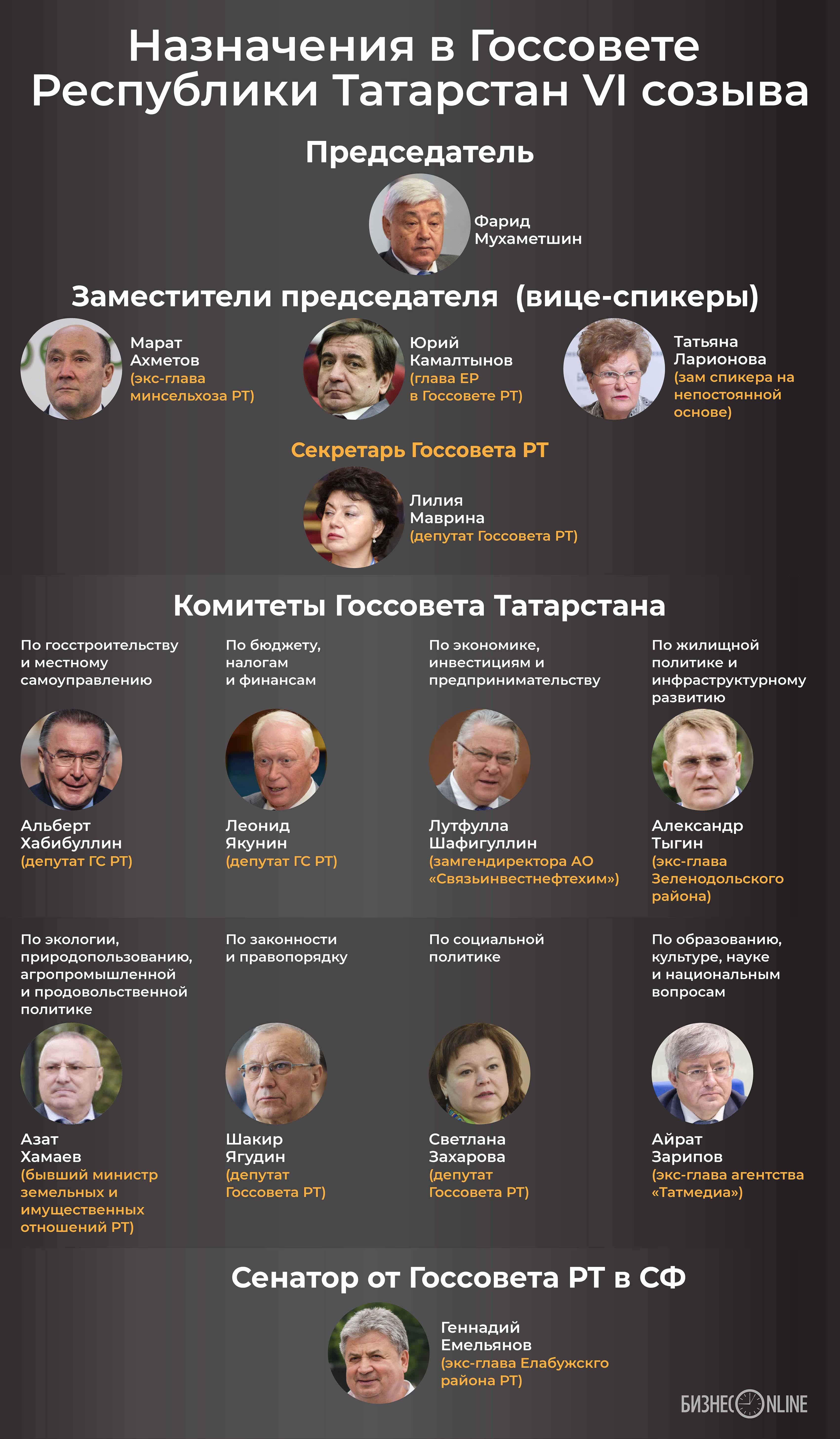 Назначения в Госсовете РТ VI созыва в одной картинке