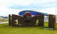 Цветочная стена FIFA появилась на ул. Сибгата Хакима — между дворцом водных видов спорта и футбольным стадионом