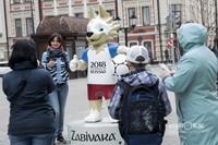 На улице Баумана напротив часов появилась скульптура официального символа ЧМ по футболу 2018 — волк Забивака. Все казанцы и туристы не упускают щшанса с ним сфотографироваться