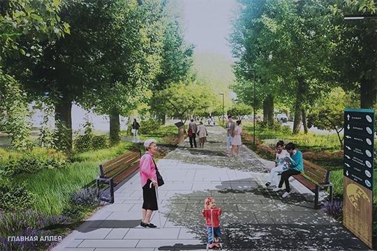 Концепция благоустройства бульвара по ул. Фаткуллина (район Азимовской мечети) предполагает выход к набережной озера Кабан