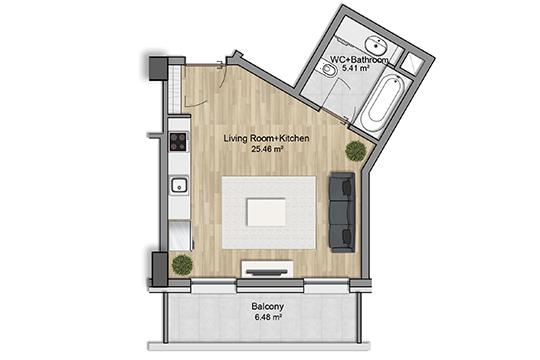 «Теперь у нас появились квартиры-студии площадью от 30 квадратных метров. На малогабаритные квартиры европейских планировок сейчас высокий спрос»