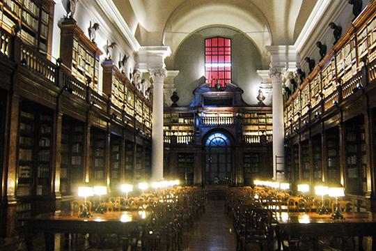 Библиотека в г.Болонье.«Эта библиотека— это увлекательное путешествие вмир знаний. Пол нижнего этажа прозрачный, под ним ведутся археологические раскопки, которые можно постоянно наблюдать»