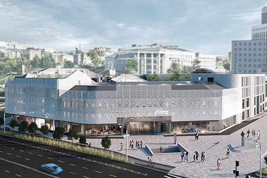 Было решено придать фасаду цельность, накрыв здание ажурной сеткой из перфорированных металлических панелей. Такой прием активно используется при строительстве по всему миру