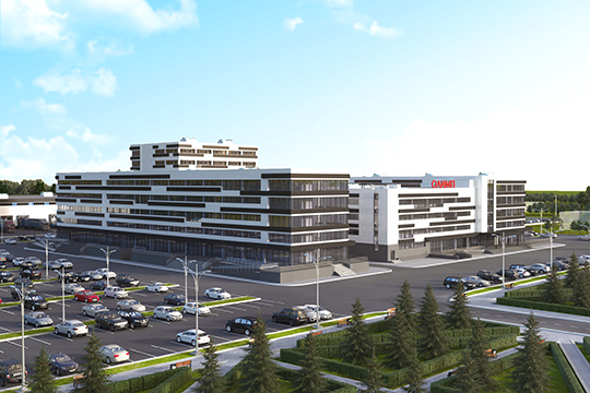 ««ОЛИМП» строится напротив НТЦ КАМАЗа напродолжении проспекта Хасана Туфана. Это очень удобное место— деловой комплекс находится впяти минутах отцентра»