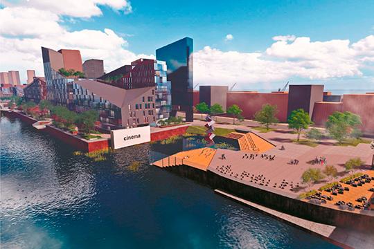 В планах — конгресс-холл, центр урбанистики, пешеходный мост между береговыми косами. Наконец, речная марина для среднего класса