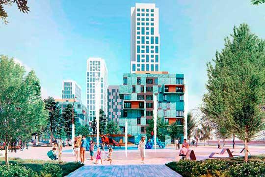 «Концептуальная» площадь общественных пространств— 3,5 гектара. Осевая линия бульвара идет примерно состороны башни «Лазурных небес» всторону небоскреба надругом углу квартала