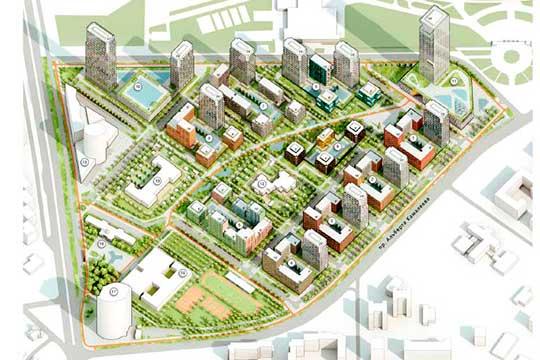 Квартал М8 будет иметь три высотных доминанты. Первая — башня «Лазурные небеса», вторая — 53-этажный пассаж торгово-офисного центра, третья (47 этажей) — на углу проезда, пересекающегося с улицей П.Лумумбы
