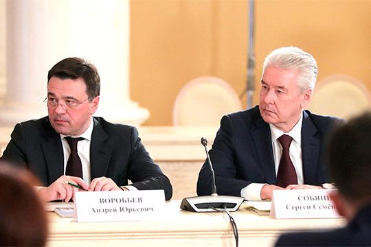В зеленую зону входят мэр Москвы Сергей Собянин (справа) и губернатор Подмосковья Андрей Воробьев (слева) — у них по 18 баллов