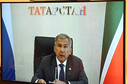 Сегодня президент РФВладимир Путинпровел рабочую встречу спрезидентом ТатарстанаРустамом Миннихановымврежиме видеоконференции