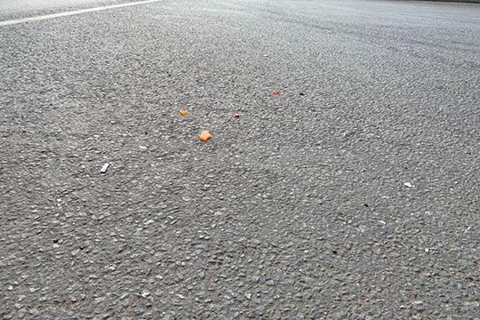 Сегодня, как увидел корреспондент «БИЗНЕС Online», наместе происшествия вдоль дороги все еще разбросаны мелкие осколки стекла, фар, болтики, шайбы