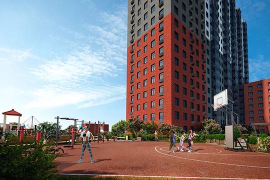 Для жителей «Смородины» водворе дома создадут собственное пространство стеррасой, современными спортивными иигровыми площадками, зонами отдыха сгамаками ишезлонгами