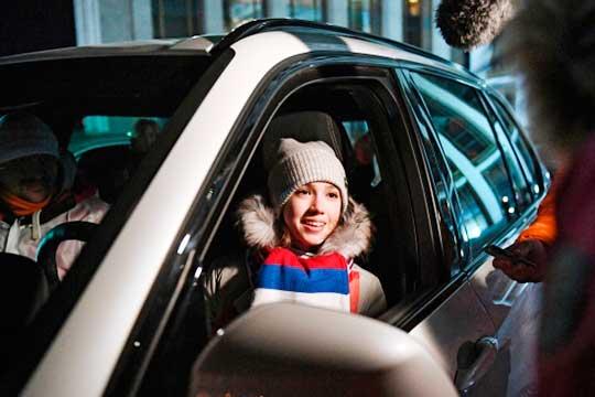 Алина Загитова на церемонии вручения автомобилей российским спортсменам - победителям и призерам XXIII зимних Олимпийских игр в Пхенчхане