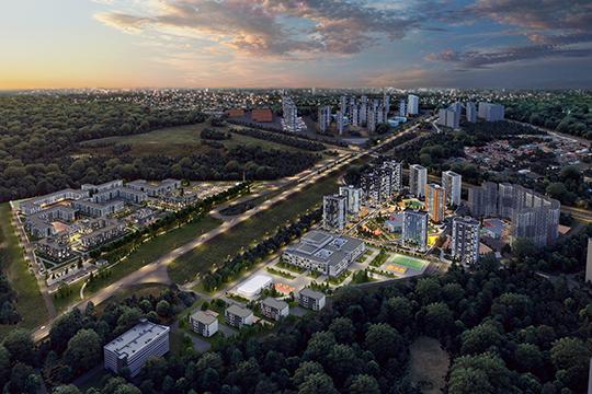«Лаишевский узел (на фото), включающий три проекта «Станция спортивная», «Южный парк», «Времена года», является нашим флагманом. Это новый перспективный микрорайон в 15 минутах от исторического центра»