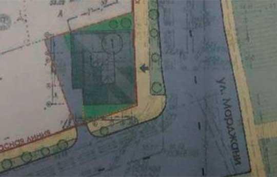 Проект, вынесенный на «историческую комиссию» Рустама Минниханова. Пятно застройки 234 кв. метра, площадь озеленения 33 кв. метра