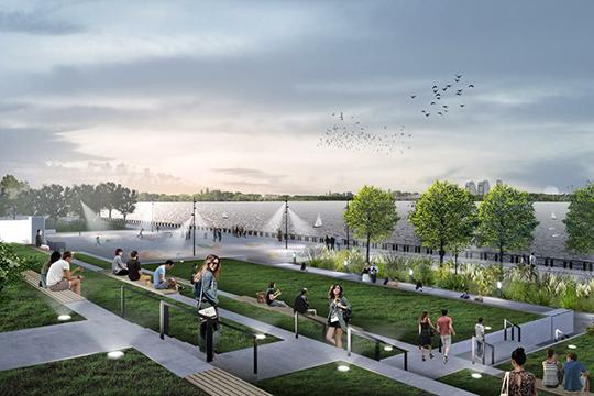 «Появляется больше озеленения насклонах уНациональной библиотеки, прогулочно-транзитная зона»