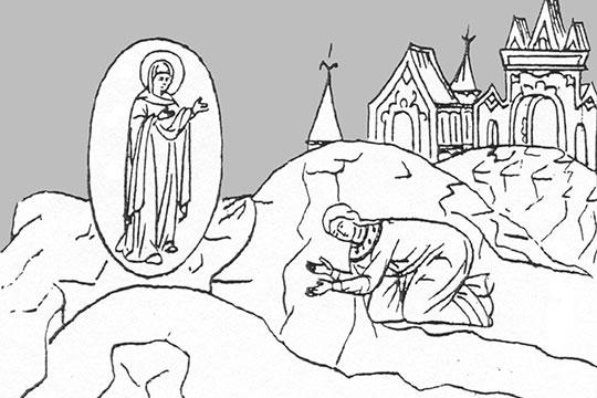 Есть гравюра-миниатюра, где он коленопреклоненный стоит и встречает икону вместе с сыновьями