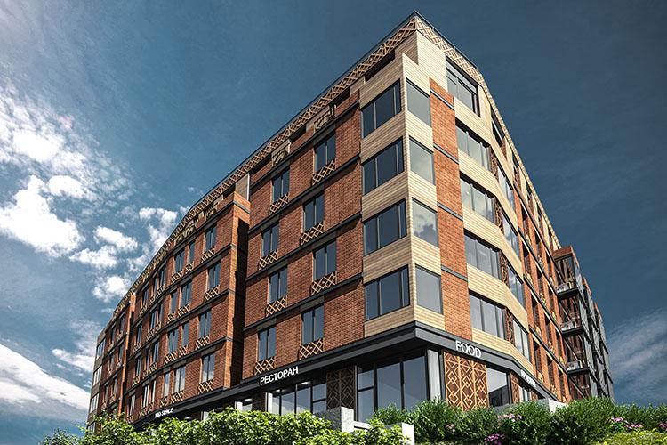 В6-этажном жилом доме для приобретения доступны квартиры площадью от36,2 до110,2 кв.м
