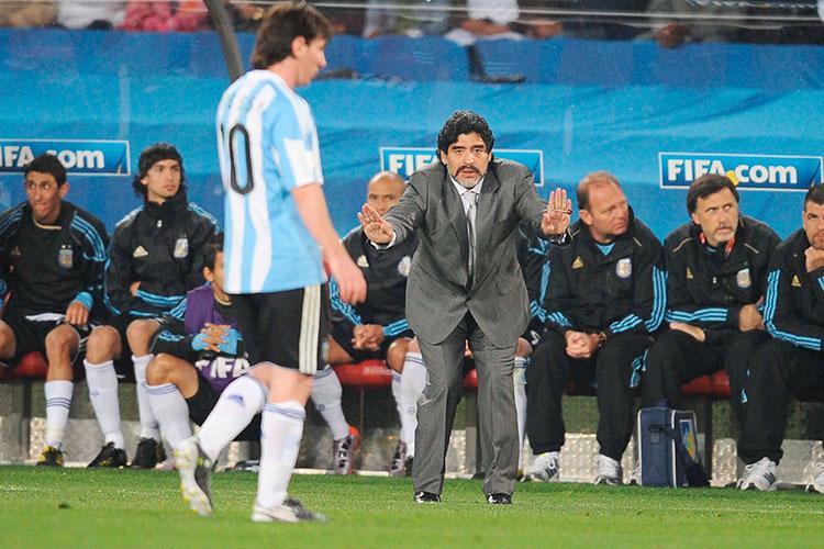 Марадонна на посту глвного тренера сборной Аргентины
