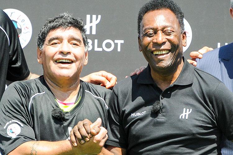 Диего Марадона и Пеле (справа)