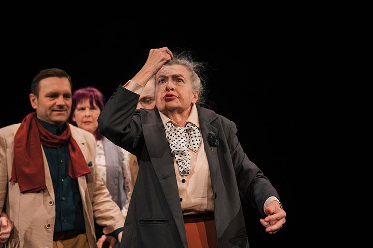 Внезапно самая старшая актриса Надежда Голован вскакивает с места и начинает экспрессивно дирижировать импровизированным оркестром — музыкантами, исполнителями и даже тифлокомментатором Верой Февральских