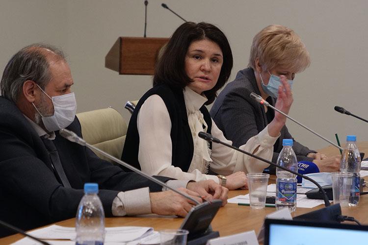 Диана Абдулганиева (вторая справа):«Вчера была опубликована десятая версия методических рекомендаций. Вчерашняя содержит 264 страницы.Основной наш посыл— чтобы число заболевающих уменьшалось»