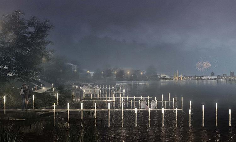 Эскиз набережной озера Кабан