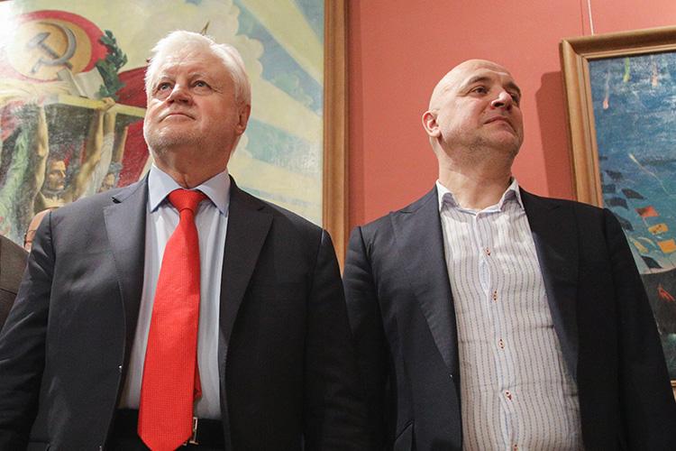 Умногих старых функционеров иновых последователейЗахара Прилепина(справа)вызывает раздражение первый номер партииСергей Миронов (слева)