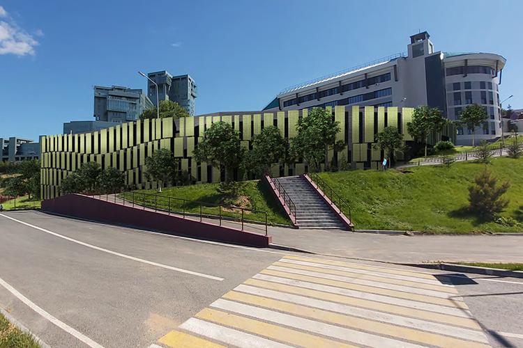 Один из вариантов фасада паркинга на улице Подлужная