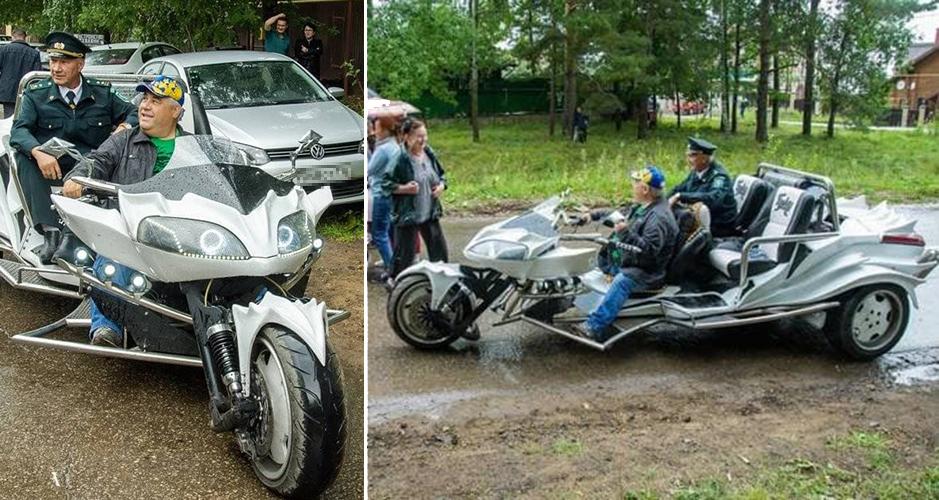 Виктор Свищев:«Катаюсь нанем постране. Разгоняется как автомобиль, там агрегаты Toyota, коробка автомат.Мордашка мотоцикла как удракона Беззубика измультфильма про драконов»