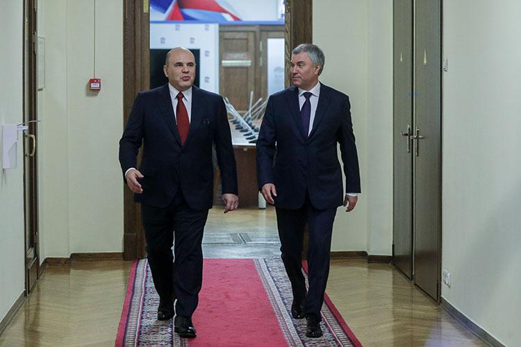 Сегодня премьер-министр РФМихаил Мишустин (слева) выступил сотчетомодеятельности правительства за2020годвГосдуме