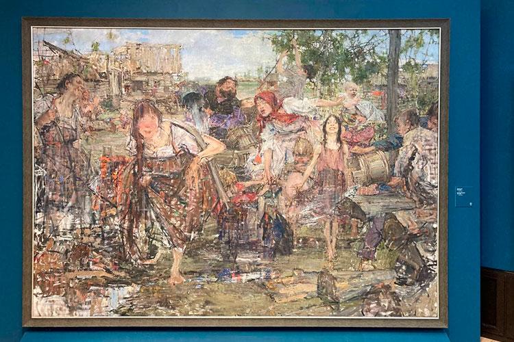 «Обливание» жеможет показаться странной картиной для людей, непривыкших воспринимать Фешина жанровым художником. Эта картина поражает своими гротескными образами