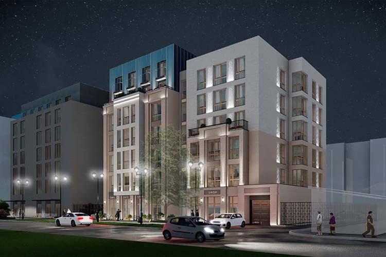 Планирует дом поул.Большая, 62 спеременной этажностью.Общая площадь —3тыс.кв. метров, изних наквартиры приходится 2тыс.кв.Претензий к архитектуренеоказалось, новот колористику фасадов было предложено изменить