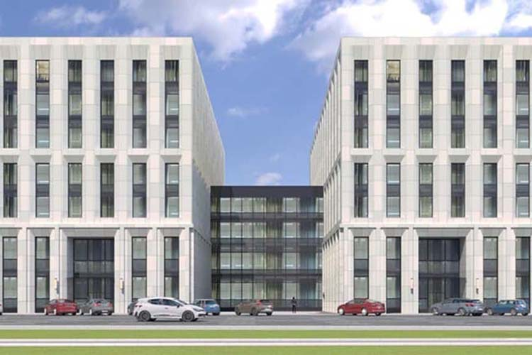 Проект белого семиэтажного административного здания площадью 16,6тыс. кв. наул.Назарбаевавцелом менять нестали, ноархитекторы «Татинвестгражданпроекта» поработали над деталями фасада.Остается решить проблему с парковкой