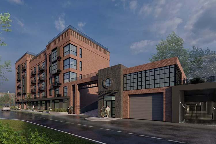 Наул.Урицкого одобрили облик разновысотного— 5-7 этажей—многоквартирного жилого дома встиле промышленной архитектуры, которая отсылает кисторическому назначению района.
