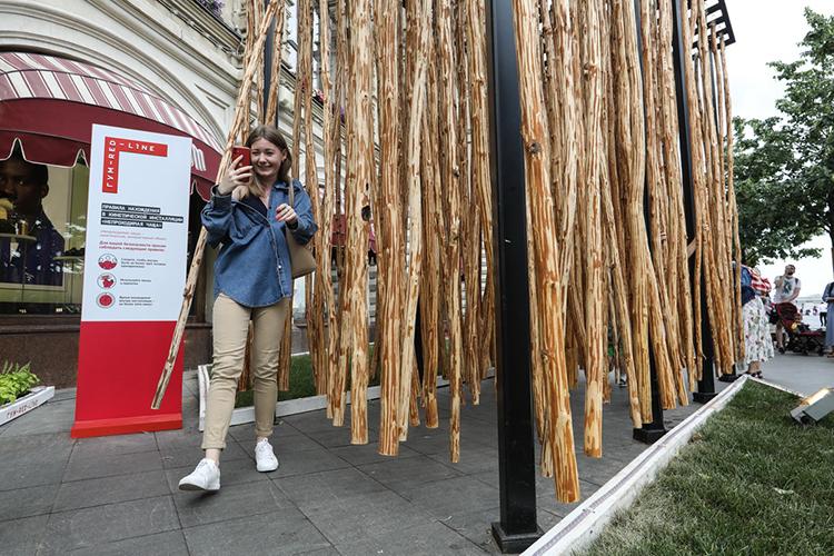 Молодые художникиВасилисаПрокопчукиЕвгенийБрагинсоздали настоящую «Непроходимую чащу» длиной вшесть метров издвух десятков стволов осины. Инсталляция буквально поглотила прохожих