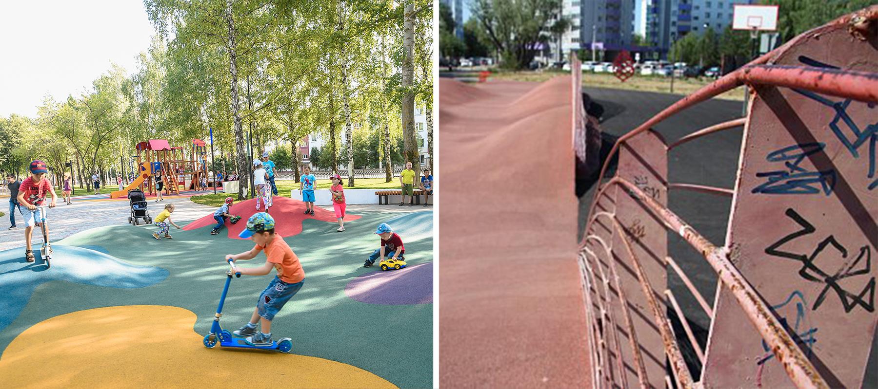 Сквер Лемаева вНижнекамске (слева) смотрится так, как будто построен вчера— асделан онвтомже году, что ипотерявший лоск Шишскинский бульвар (справа) вНабережных Челнах