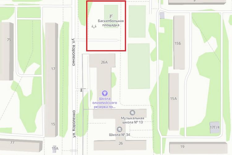 Пристрой появится на промежутке между залом фехтовальщиков и 20-й школой (помечен на карте красным). Волейбольно-баскетбольные площадки, которые сейчас там, перенесут в другое место