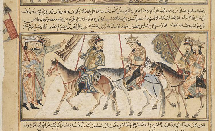 Рис.10Татаро-монгольские воины с флагами. Персидская миниатюра XIV в.