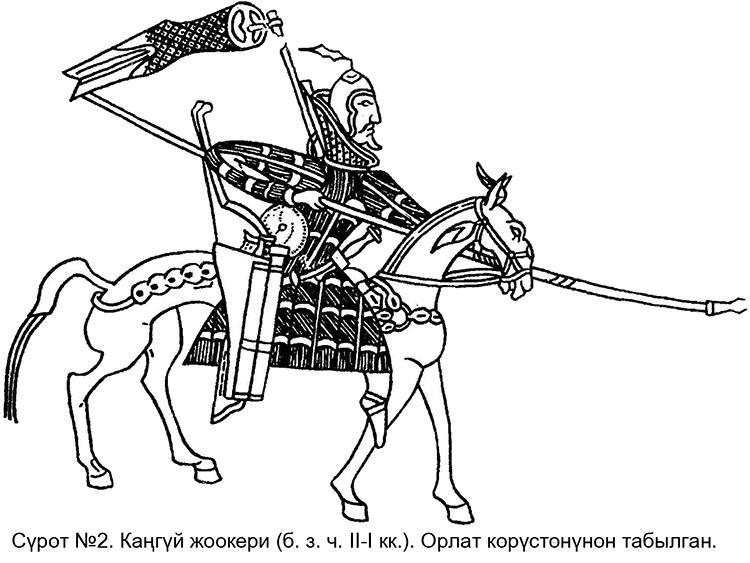 Рис.3. Воин из Приаралья со штандартом за спиной. Орланская пластина. Фрагмент.