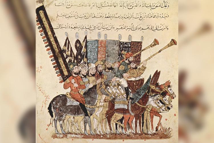 Рис. 6Войско Арабского халифата. Миниатюра. Иллюстрация в копии Макамаа из ал-Харири. Ирак, 1237 г.